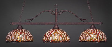 "Scroll 3 Light Bar In Bronze Finish With 15"" Persian Nites Tiffany Glass (823-BRZ-991) - lights"
