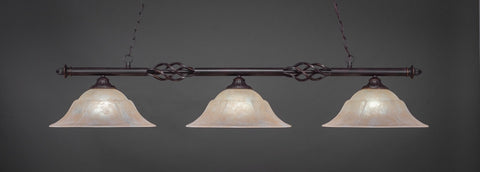 "Eleganté 3 Light Bar In Dark Granite Finish With 16"" Amber Marble Glass (863-DG-53613) - lights"