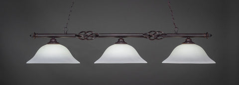"Eleganté 3 Light Bar In Dark Granite Finish With 16"" White Linen Glass (863-DG-612) - lights"