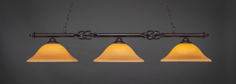 "Eleganté 3 Light Bar In Dark Granite Finish With 16"" Cayenne Linen Glass (863-DG-622) - lights"