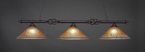 "Eleganté 3 Light Bar In Dark Granite Finish With 16"" Amber Crystal Glass (863-DG-710)"