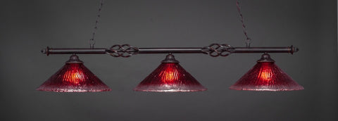 "Eleganté 3 Light Bar In Dark Granite Finish With 16"" Raspberry Crystal Glass (863-DG-716) - lights"
