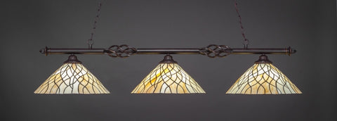 "Eleganté 3 Light Bar In Dark Granite Finish With 16"" Sandhill Tiffany Glass (863-DG-911) - lights"