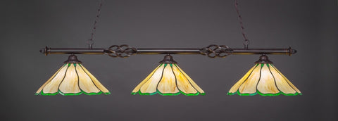 "Eleganté 3 Light Bar In Dark Granite Finish With 16"" Honey & Hunter Green Flair Tiffany Glass (863-DG-913) - lights"