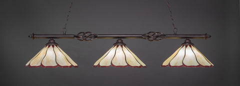 "Eleganté 3 Light Bar In Dark Granite Finish With 16"" Honey And Burgundy Flair Tiffany Glass (863-DG-916) - lights"