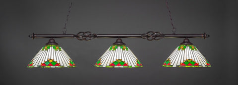 "Eleganté 3 Light Bar In Dark Granite Finish With 15"" Green Sunray Tiffany Glass (863-DG-937) - lights"