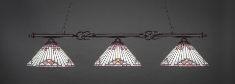 "Eleganté 3 Light Bar In Dark Granite Finish With 15"" Purple Sunray Tiffany Glass (863-DG-938) - lights"