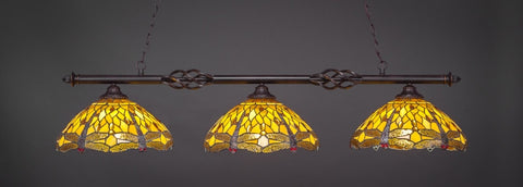 "Eleganté 3 Light Bar In Dark Granite Finish With 16"" Amber Dragonfly Tiffany Glass (863-DG-946) - lights"