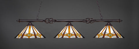"Eleganté 3 Light Bar In Dark Granite Finish With 16"" Hampton Tiffany Glass (863-DG-961) - lights"