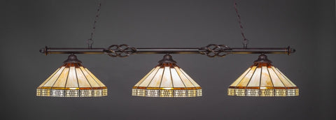 "Eleganté 3 Light Bar In Dark Granite Finish With 15"" Honey & Brown Mission Tiffany Glass (863-DG-964) - lights"