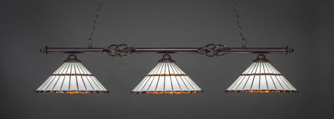 "Eleganté 3 Light Bar In Dark Granite Finish With 15.5"" Honey Glass & Amber Brown Jewels Tiffany Glass (863-DG-974) - lights"