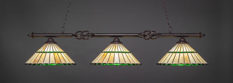 "Eleganté 3 Light Bar In Dark Granite Finish With 15.5"" Honey Glass & Green Jewels Tiffany Glass (863-DG-977) - lights"