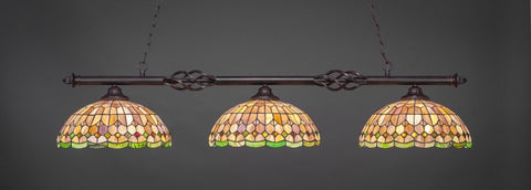 "Eleganté 3 Light Bar In Dark Granite Finish With 15"" Rosetta Tiffany Glass (863-DG-988) - lights"