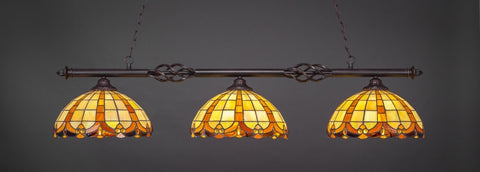 "Eleganté 3 Light Bar In Dark Granite Finish With 14.5"" Butterscotch Tiffany Glass (863-DG-989) - lights"
