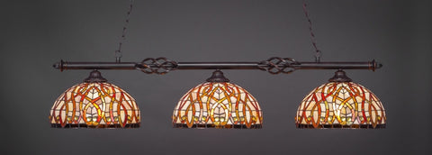 "Eleganté 3 Light Bar In Dark Granite Finish With 15"" Persian Nites Tiffany Glass (863-DG-991) - lights"