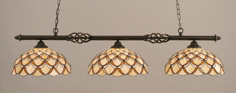 "Eleganté 3 Light Bar In Dark Granite Finish With 16"" Honey & Brown Scallop Tiffany Glass (863-DG-993) - lights"