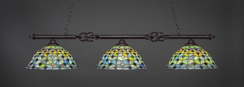"Eleganté 3 Light Bar In Dark Granite Finish With 16"" Crescent Tiffany Glass (863-DG-996) - lights"