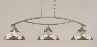 "Bow 3 Light Bar In Brushed Nickel Finish With 15"" Green Sunray Tiffany Glass (873-BN-937) - lights"