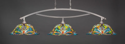 "Bow 3 Light Bar In Brushed Nickel Finish With 19"" Kaleidoscope Tiffany Glass (873-BN-990) - lights"