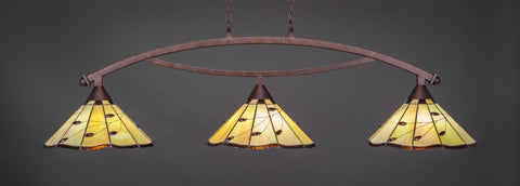 "Bow 3 Light Bar In Bronze Finish With 16"" Autumn Leaves Tiffany Glass (873-BRZ-926) - lights"
