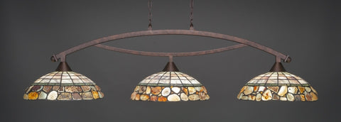 "Bow 3 Light Bar In Bronze Finish With 16"" Cobblestone Tiffany Glass - lights"