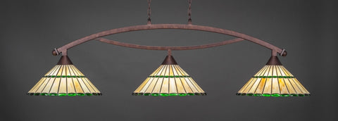 "Bow 3 Light Bar In Bronze Finish With 15.5"" Honey Glass & Green Jewels Tiffany Glass (873-BRZ-977) - lights"