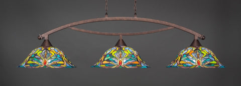 "Bow 3 Light Bar In Bronze Finish With 19"" Kaleidoscope Tiffany Glass (873-BRZ-990) - lights"