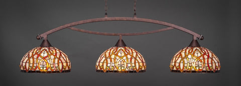 "Bow 3 Light Bar In Bronze Finish With 15"" Persian Nites Tiffany Glass (873-BRZ-991) - lights"