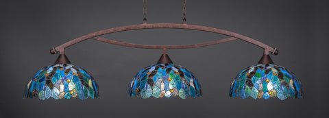 "Bow 3 Light Bar In Bronze Finish With 16"" Blue Mosaic Tiffany Glass (873-BRZ-995) - lights"