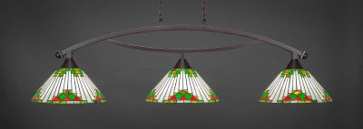"Bow 3 Light Bar In Dark Granite Finish With 15"" Green Sunray Tiffany Glass (873-DG-937) - lights"