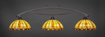 "Bow 3 Light Bar In Dark Granite Finish With 14.5"" Butterscotch Tiffany Glass (873-DG-989) - lights"