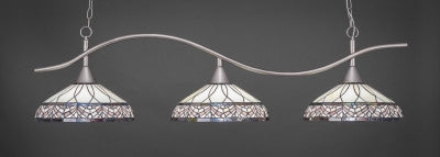 "Swoop 3 Light Bar In Brushed Nickel Finish With 16"" Royal Merlot Tiffany Glass (893-BN-948) - lights"