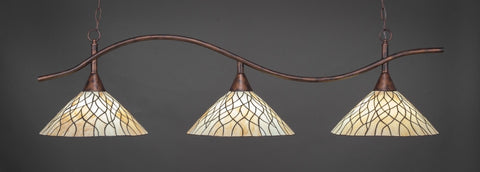 "Swoop 3 Light Bar In Bronze Finish With 16"" Sandhill Tiffany Glass - lights"