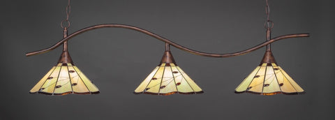 "Swoop 3 Light Bar In Bronze Finish With 16"" Autumn Leaves Tiffany Glass (893-BRZ-926) - lights"