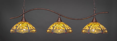 "Swoop 3 Light Bar In Bronze Finish With 16"" Amber Dragonfly Tiffany Glass - lights"