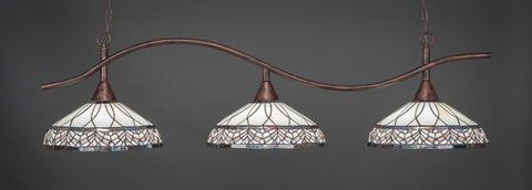 "Swoop 3 Light Bar In Bronze Finish With 16"" Royal Merlot Tiffany Glass (893-BRZ-948) - lights"