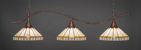 "Swoop 3 Light Bar In Bronze Finish With 15"" Honey & Brown Mission Tiffany Glass - lights"