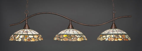 "Swoop 3 Light Bar In Bronze Finish With 16"" Cobblestone Tiffany Glass - lights"