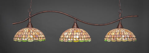 "Swoop 3 Light Bar In Bronze Finish With 16"" Rosetta Tiffany Glass - lights"