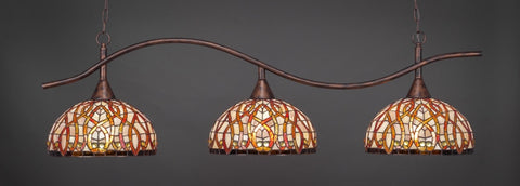 "Swoop 3 Light Bar In Bronze Finish With 15"" Persian Nites Tiffany Glass - lights"