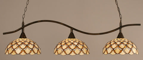"Swoop 3 Light Bar In Bronze Finish With 16"" Honey & Brown Scallop Tiffany Glass - lights"