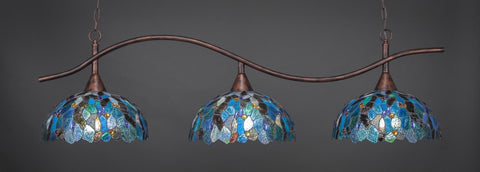 "Swoop 3 Light Bar In Bronze Finish With 16"" Blue Mosaic Tiffany Glass - lights"