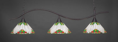 "Swoop 3 Light Bar In Dark Granite Finish With 15"" Green Sunray Tiffany Glass (893-DG-937) - lights"
