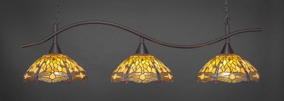 "Swoop 3 Light Bar In Dark Granite Finish With 16"" Amber Dragonfly Tiffany Glass (893-DG-946) - lights"