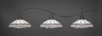 "Swoop 3 Light Bar In Dark Granite Finish With 16"" Royal Merlot Tiffany Glass (893-DG-948) - lights"