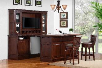 Belvidere Return Bar with Back Bar and Hutch - Bar