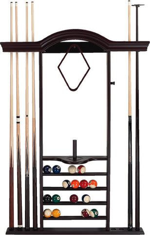 7 Cue Wall Rack with Bridge & Short Cue Clip