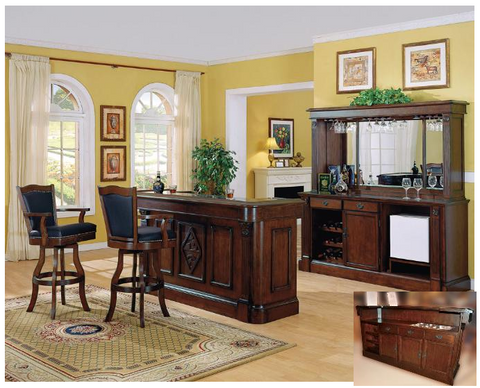Monticello Bar with Back Bar and Hutch - Bar