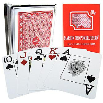 Red Marion Pro Poker Jumbo Plastic Face Cards - Accessory - 1