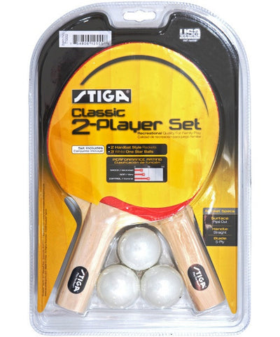 Stiga Classic 2-Player Ping Pong Paddle Set - Accessory